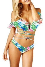 Women Sexy Ruffle Printed Straps Bandage Two Pieces Swimsuit Turquoise