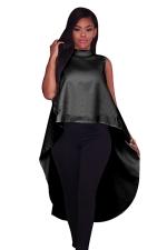 Women Fashion High Low Sleeveless Loose Zipper Camisole Top Black