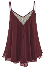 Women Sexy Strap Sequin V Neck Loose Camisole Top Ruby