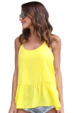 Women Strap Pleated Chiffon Camisole Top Yellow