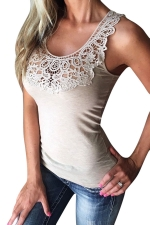 Women Lace Patchwork Hollow Out Camisole Top Khaki