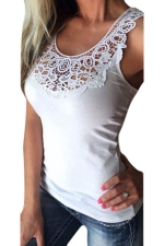 Women Lace Patchwork Hollow Out Camisole Top White