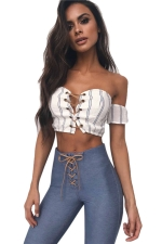 Women Sexy Off Shoulder Cross Lace Up Crop Top Black And White