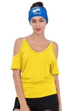 Women Casual Cold Shoulder Plain Short Sleeve T-Shirt Yellow