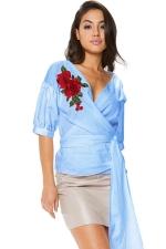 Women V Neck Embroidered Belt Blouse Blue