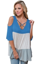 Women Color Block Criss Cross V Neck Cold Shoulder T-Shirt Light Blue