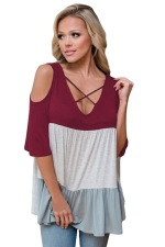 Women Color Block Criss Cross V Neck Cold Shoulder T-Shirt Ruby