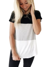 Women Casual Strips Crew Neck T-Shirt Black