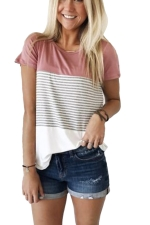 Women Casual Strips Crew Neck T-Shirt Pink