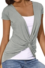 Women Casual False Two-Piece T-Shirt Gray