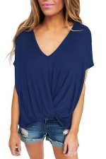 Women Low High Draped Front Knot T-Shirt Blue