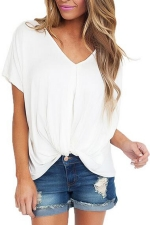 Women Low High Draped Front Knot T-Shirt White