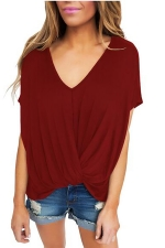 Women Low High Draped Front Knot T-Shirt Ruby