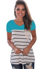 Women Splice Striped Short Sleeve T-Shirt Blue