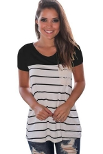 Women Splice Striped Short Sleeve T-Shirt Black