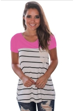 Women Splice Striped Short Sleeve T-Shirt Rose Red