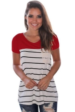 Women Splice Striped Short Sleeve T-Shirt Red