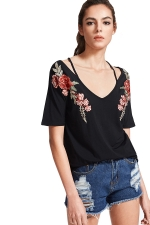 Women Strap V Neck Short Sleeve Flower Embroidered T-Shirt Black
