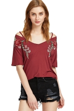 Women Strap V Neck Short Sleeve Flower Embroidered T-Shirt Ruby