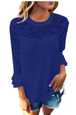 Women Lace Patchwork Chiffon T-Shirt Blue