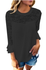 Women Lace Patchwork Chiffon T-Shirt Black