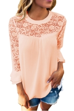 Women Lace Patchwork Chiffon T-Shirt Pink