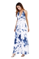 Women Sexy Halter Backless Printed Maxi Dress Blue