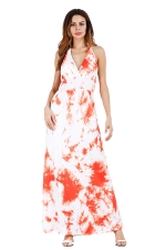 Women Sexy Halter Backless Printed Maxi Dress Orange