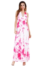 Women Sexy Halter Backless Printed Maxi Dress Rose Red