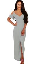 Women Strap V Neck Cold Shoulder Split Maxi Dress Gray