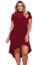 Women Plus Size Mesh Insert Ruffled High-Low Hem Curvy Dress Ruby