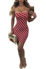 Women Sexy Off Shoulder Stripe Club Wear Bodycon Dress Red