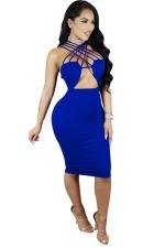 Women Sexy Strappy Cut-Out Club Wear Bodycon Dress Blue