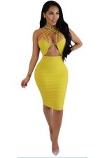 Women Sexy Strappy Cut-Out Club Wear Bodycon Dress Yellow