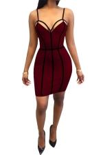 Women Sexy Strap Backless Bodycon Club Wear Dress Ruby