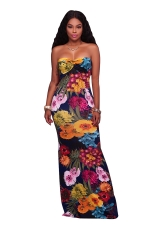 Women Sexy Strapless Floral Printed Maxi Dress Navy Blue