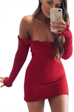 Women Sexy Off Shoulder Knit Long Sleeve Bodycon Dress Red