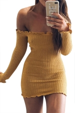 Women Sexy Off Shoulder Knit Long Sleeve Bodycon Dress Yellow