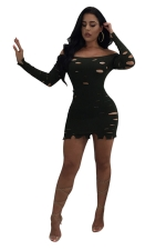 Black Sexy Off Shoulder Hollow Out Long Sleeve Knit Bodycon Dress