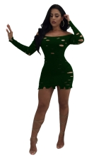 Green Sexy Off Shoulder Hollow Out Long Sleeve Knit Bodycon Dress