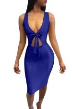Women Sexy Deep V Neck Hollow Out Club Wear Dress Sapphire Blue