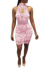 Women Sexy Lace Hollow Out Sleeveless Backless Club Wear Dress Pink