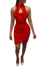 Women Sexy Lace Hollow Out Sleeveless Backless Club Wear Dress Red