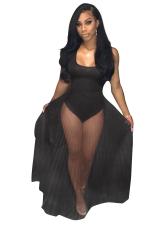 Women Sexy See Through Pleated Club Wear Bodysuit Dress Black