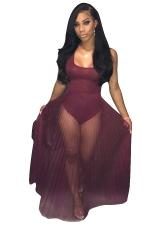 Women Sexy See Through Pleated Club Wear Bodysuit Dress Ruby