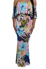 Women Sexy Off Shoulder Ruffle Floral Printed Maxi Dress Pink