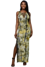 Women Sexy Lace Up Side Split Printed Maxi Dress Yellow
