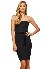 Women Elegant Off Shoulder Slimming Plain Evening Dress Black