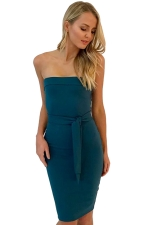 Women Elegant Off Shoulder Slimming Plain Evening Dress Green