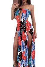 Women Sexy Split Cut Out Backless Printed Club Wear Dress Rose Red